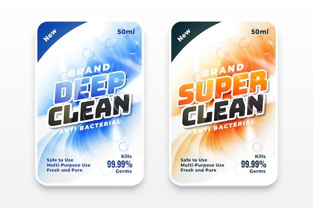 Conjunto de duas etiquetas super limpas e desinfetantes