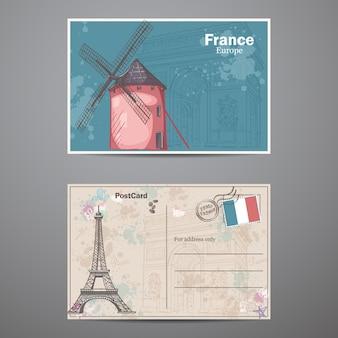 Conjunto de duas faces de um cartão postal com o tema paris na frança. postal 2