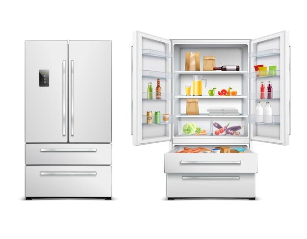 Conjunto de duas imagens realistas de geladeira isolada com duas vistas do armário aberto e fechado