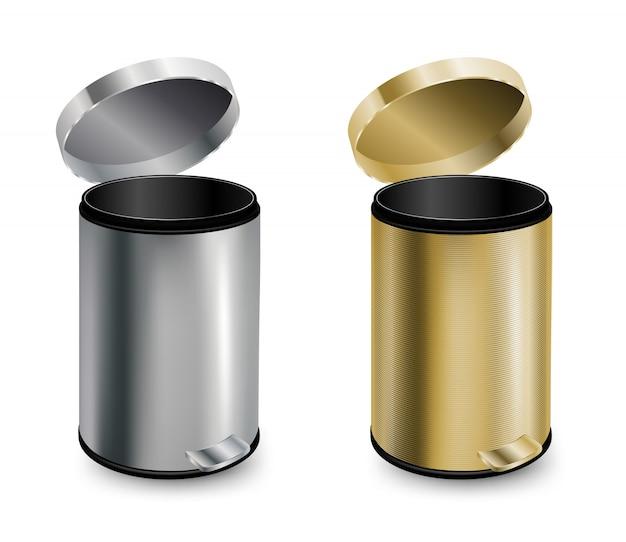 Conjunto de duas latas de lixo abertas.