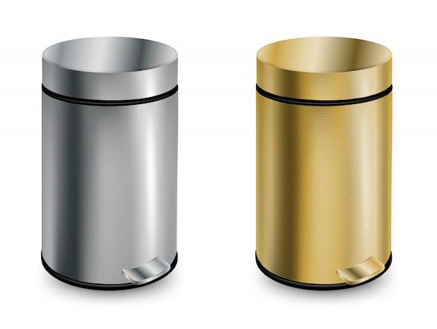 Conjunto de duas latas de lixo fechadas