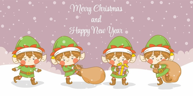 Conjunto de duende fofo com banner de saudação de natal e ano novo