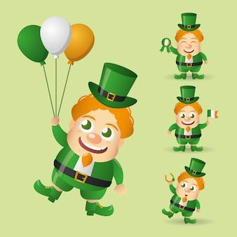 Conjunto de duende irlandês feliz com balões, uma bandeira da irlanda.