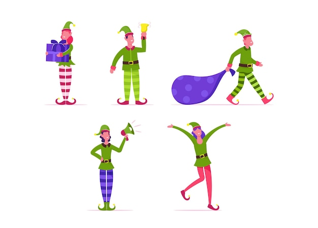 Conjunto de duendes de natal fofos e brincalhões. ilustração plana dos desenhos animados