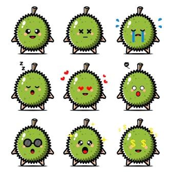 Conjunto de durian fofo com personagem de desenho animado de expressão