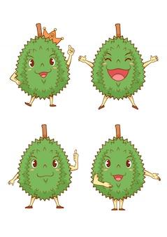 Conjunto de durians de desenho animado em poses diferentes.