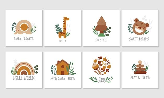 Conjunto de eco brinquedos de madeira com folhas de eucalipto, cartões de lindos filhos.