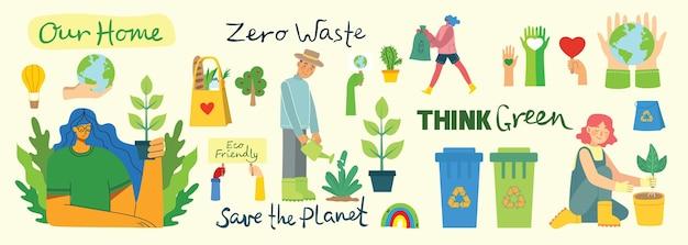 Conjunto de eco salvar colagem de ambiente. pessoas cuidando da colagem do planeta. zero desperdício, pense verde, salve o planeta, nosso texto escrito à mão em casa no design plano moderno