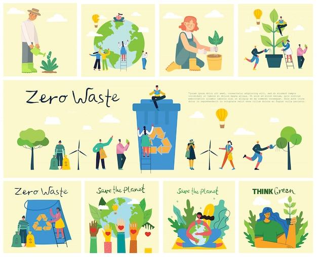 Conjunto de eco salvar fotos do ambiente. pessoas cuidando da colagem do planeta. zero desperdício, pense verde, salve o planeta, nossa casa escrita à mão no design plano
