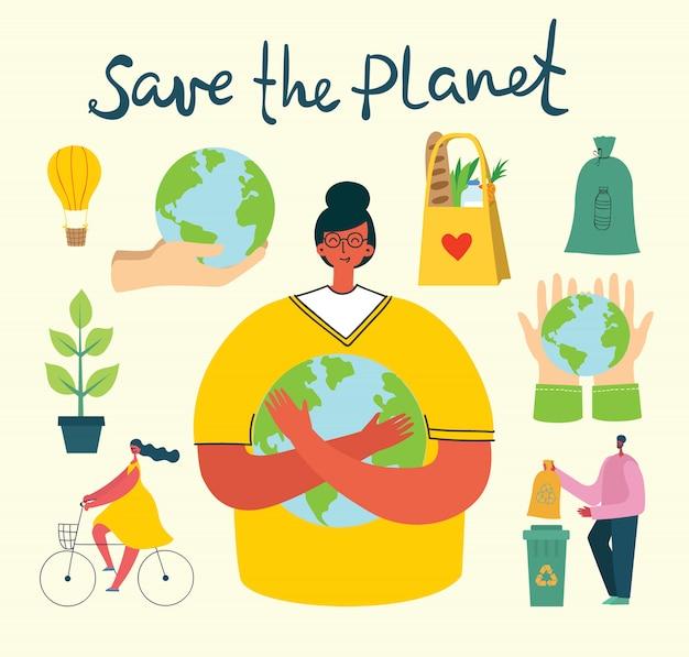 Conjunto de eco salvar fotos do ambiente. pessoas cuidando da colagem do planeta.