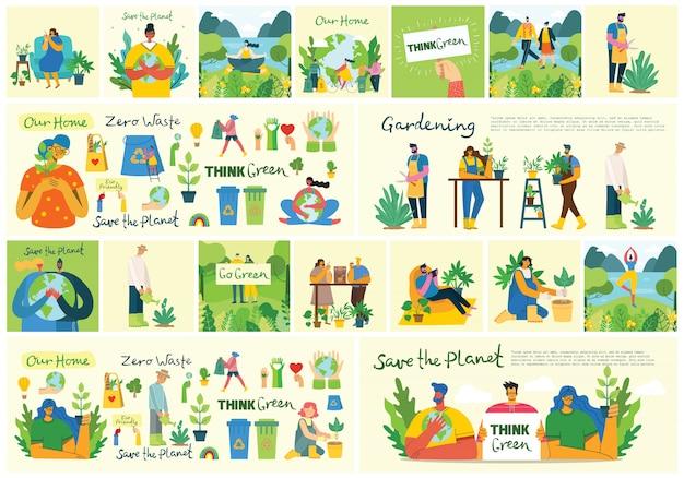Conjunto de eco salvar imagens ambientais. pessoas cuidando da colagem do planeta. zero desperdício, pense verde, salve o planeta, nosso texto escrito à mão em casa no design plano