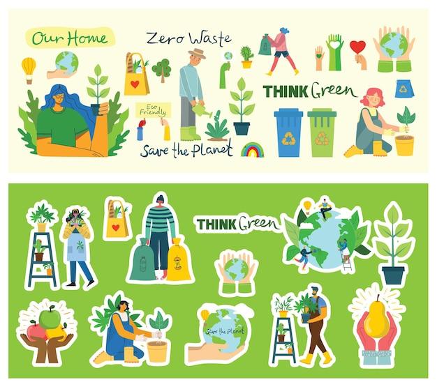 Conjunto de eco salvar imagens de adesivos de ambiente.