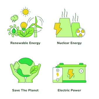 Conjunto de ecologia de energia renovável energia nuclear salva o planeta