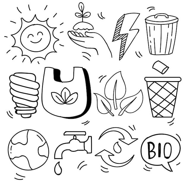 Conjunto de ecologia desenhada à mão, problema de ecologia e ícones de energia verde em estilo doodle, ilustração vetorial
