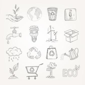 Conjunto de ecologia doodles