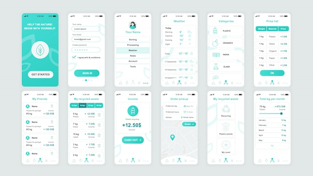 Conjunto de ecrãs ui, ux, gui ecology app flat template