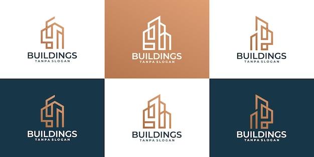 Conjunto de edifício criativo moderno, imobiliário, logotipo do arquiteto