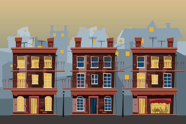 Conjunto de edifício em ilustração vetorial de cidade