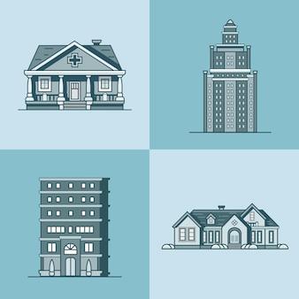 Conjunto de edifício público de arquitetura de casa urbana