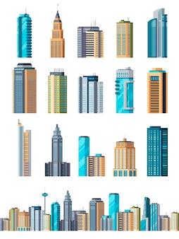 Conjunto de edifícios arranha-céu