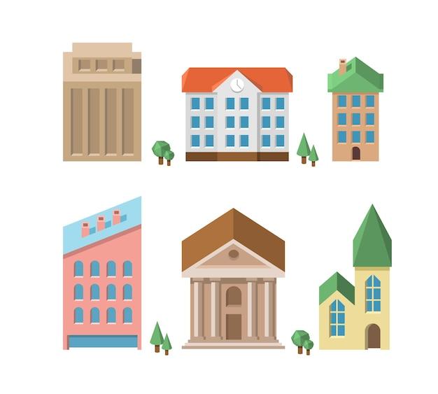 Conjunto de edifícios. casas do vetor 3d. casa e arquitetura, construção, imóveis