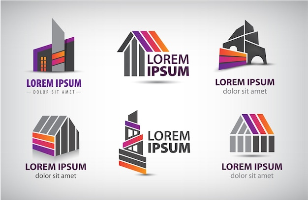 Conjunto de edifícios coloridos, logotipos de casas.
