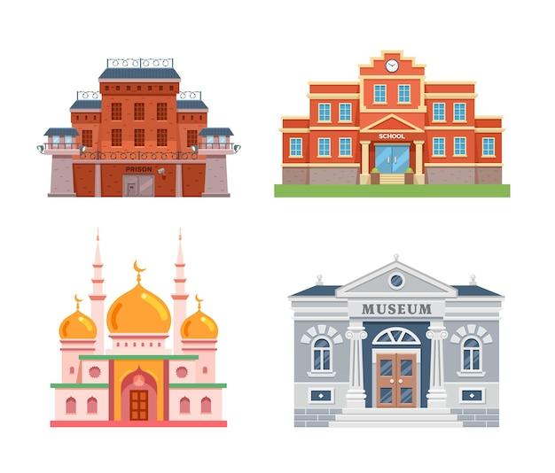 Conjunto de edifícios da cidade mesquita-escola-prisão e ilustração plana do museu