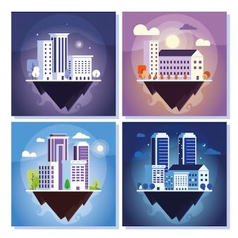 Conjunto de edifícios de apartamentos e escritórios, paisagem urbana sobre o terreno