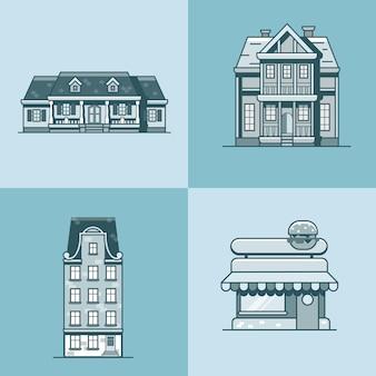 Conjunto de edifícios de arquitetura de casa de cidade, café e restaurante