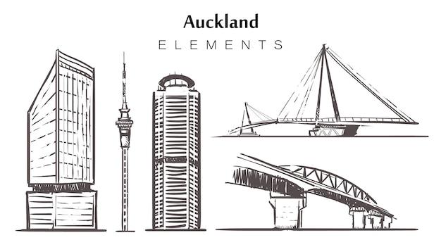 Conjunto de edifícios de auckland desenhados à mão