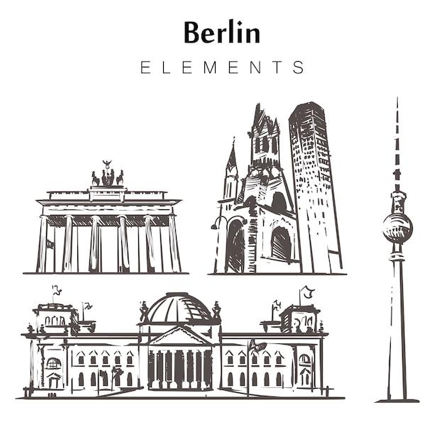Conjunto de edifícios de berlim desenhados à mão