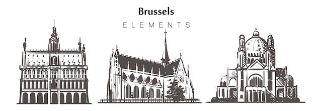 Conjunto de edifícios de bruxelas desenhados à mão Vetor Premium