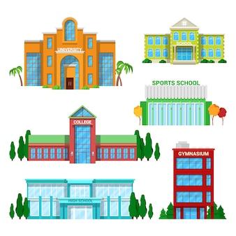 Conjunto de edifícios de escola e universidade de arquitetura.