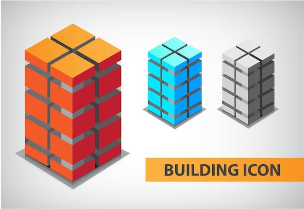 Conjunto de edifícios de escritórios coloridos, ícones, apartamentos, logotipos