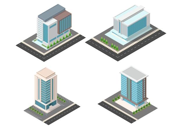 Conjunto de edifícios de escritórios de arranha-céus isométricos. isolamento em branco.