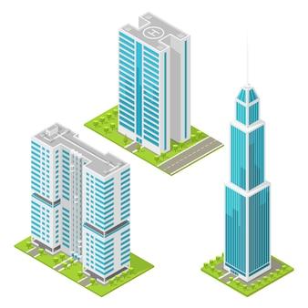 Conjunto de edifícios de escritórios realistas, arranha-céus isométricos. ilustração.
