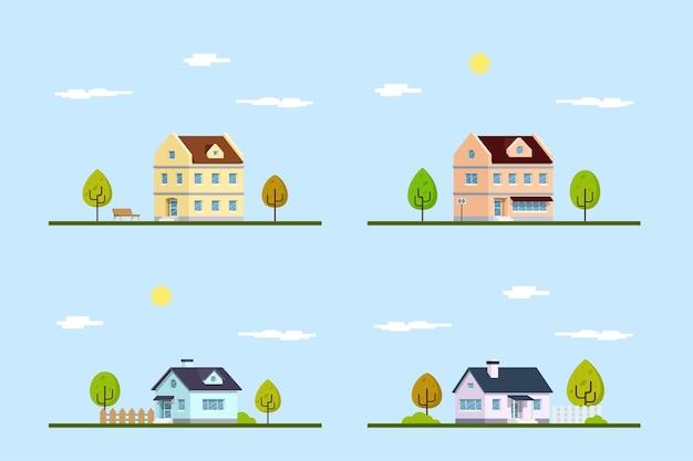 Conjunto de edifícios de estilo simples. imobiliária. coleção de edifícios modernos urbanos e suburbanos.