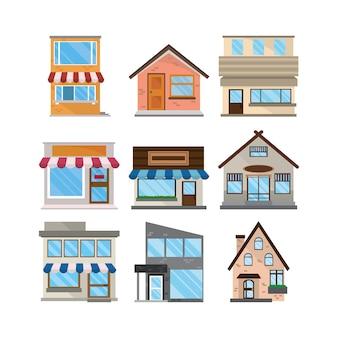 Conjunto de edifícios de fachadas