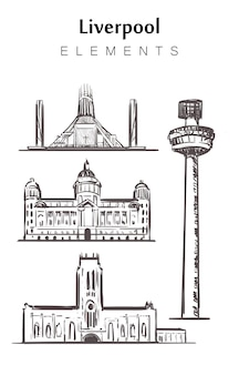 Conjunto de edifícios de liverpool isolado no branco