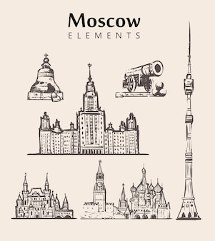 Conjunto de edifícios de moscou desenhados à mão