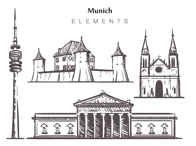 Conjunto de edifícios de munique desenhados à mão