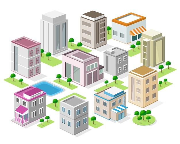Conjunto de edifícios detalhados da cidade isométrica. cidade isométrica de vetor 3d