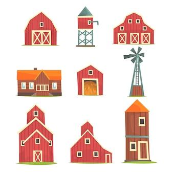 Conjunto de edifícios e construções de fazenda, vida rural e objetos da indústria agrícola ilustrações
