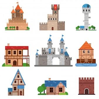 Conjunto de edifícios históricos medievais de diferentes países, torres, castelos, fortes, casas cartum ilustrações