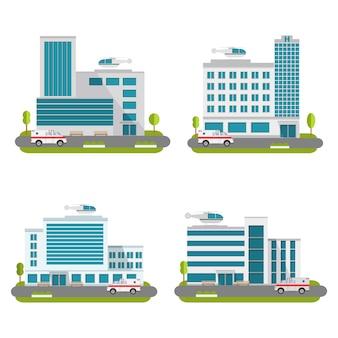 Conjunto de edifícios hospitalares com carro de helicópteros e ambulâncias.
