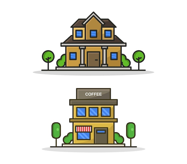 Conjunto de edifícios ilustrados de desenhos animados