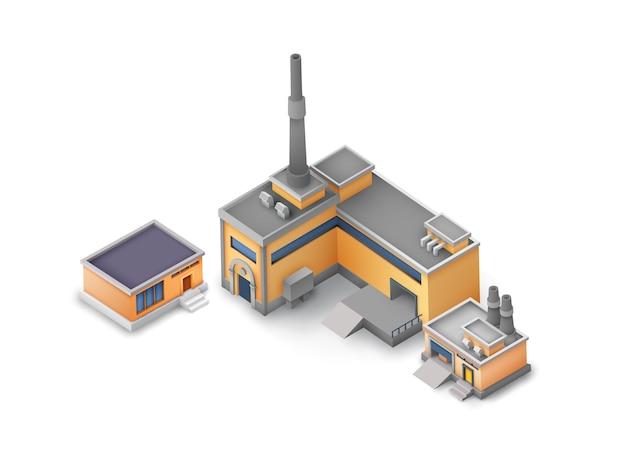 Conjunto de edifícios industriais isométricos