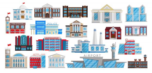 Conjunto de edifícios isolado em estilo simples.