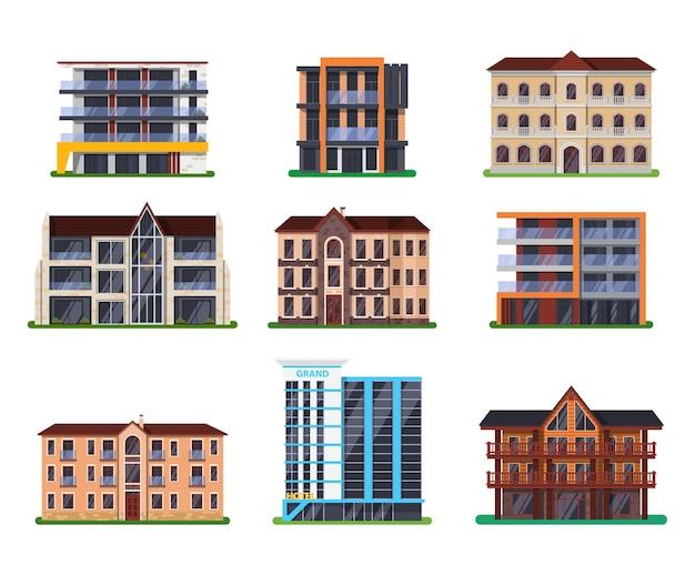 Conjunto de edifícios isolados de hotéis modernos