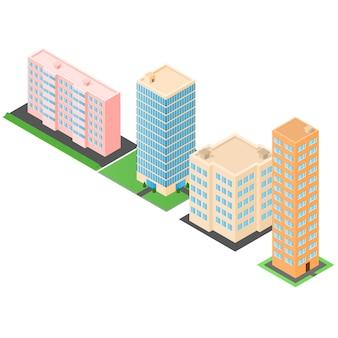 Conjunto de edifícios isométricos. casas e escritórios em arranha-céus. a arquitetura moderna. moradias em banda. ilustração vetorial.